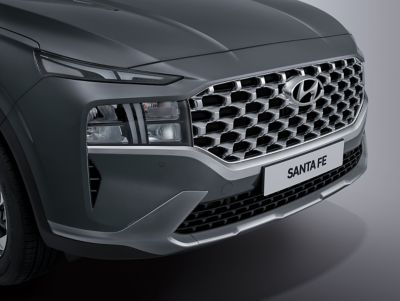 A close up image of the new front bumper design on the new Hyundai SANTA FE Hybrid SUV.
