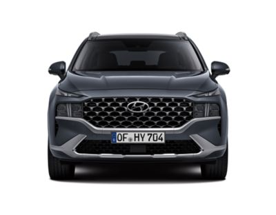 The new Hyundai SANTA FE Hybrid 7 seat SUV showing its new full LED headlamps and bumper.