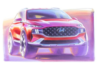 A concept drawing in color of the new Hyundai SANTA FE Hybrid 7 seat SUV from the front.