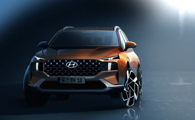 The front design of the new Hyundai SANTA FE Hybrid 7 seat SUV.