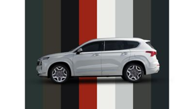 The multiple color options of the new Hyundai SANTA FE Hybrid 7 seat SUV.